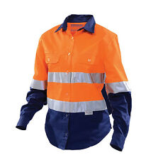 WOMAN'S LONG SLEEVE 2-TONE HI-VIS WORK SHIRT SIZE 18 WORKHORSE BRAND WSH006*NEW*