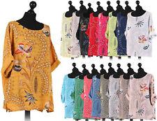 New Italian Ladies Floral Print Quirky Crop Top Women's Cotton Lagenlook Dress