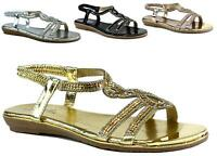 NEW LADIES CROSS DIAMANTE OPEN TOE SOFT CUSHIONED HOLIDAY BEACH SANDAL UK SIZE