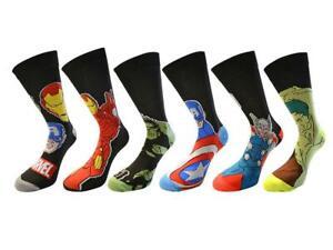 Mens Marvel Super Hero Comics Socks Avengers, Hulk, Captain America, Iron Man