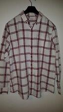 FARAH 1920 Vintage Check Shirt Ecru - Burgandy Size XL VGC
