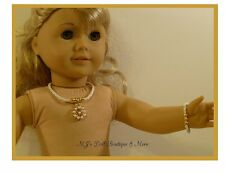 White Flower Pearls Necklace & Bracelet Set fits American Girl Doll