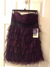 NWT Strapless Tiered Purple Glittered Lace Party Cocktail Dress: Size Jr. Large