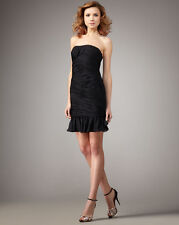 HALSTON HERITAGE RUCHED STRAPLESS BLACK 2 DRESS NEW