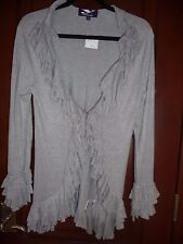 *NWT*  Gray Ruffle Front  Cardigan Jacket by Y LONDON Size: L ($198)