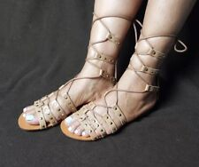 Steve Madden Womens Sye Leather Studded Laces Gladiator Sandals 5.5