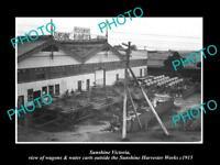 OLD LARGE HISTORIC PHOTO OF HV McKAY SUNSHINE HARVESTER WORKS, WAGONS c1915