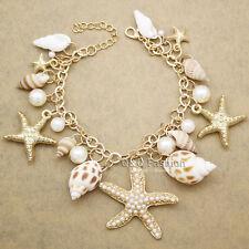 Beach Seashell Ocean Sea Life Starfish Pearl Gold Charm Chain Bracelet Bangle H8