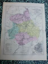 Carte géographique couleur 19°: L'EURE ET LOIR  avec plan de CHARTRES