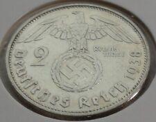 Germany 2 REICHSMARK SILVER MARK HINDENBURG SWASTIKA 1938 F Third Reich