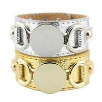Monogram Blank Vegan Leather Bracelet Gold Disc Open Cuff Wide Bangles Bracelets