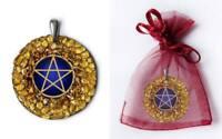 Pentagramm Anhänger Amber Magic Bernstein Silber Gothic Schmuck NEU