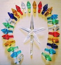 50 Replacement Large Ceramic Christmas Tree Large Twist Light Bulbs and Star
