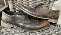 John Varvatos Sid Crepe Wingtip Oxford Walnut Leather Brown Size 10 F2915R2B