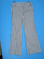 STUNNING LADIES TOPSHOP STRIPED FLARED ? TROUSERS SIZE 8 HARDLY WORN BLACK WHITE