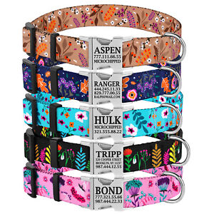 Personalized Dog Collar Nylon Engraved ID Tags Adjustable Collars for Dogs S M L