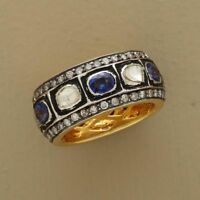 Natural Rose Cut Diamond Polki & Sapphire 18k Gold Sterling Silver Band Ring