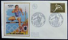 Enveloppe 1é jour du 8 07 1972 Paris XXé Jeux Olympiques Munich 1972