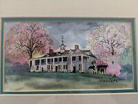 Original Watercolor Painting Janice Donelson George Washington's Mount Vernon