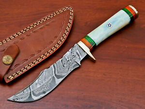 Rody Stan HAND MADE DAMASCUS BLADE HUNTING KNIFE - BRASS GUARD - AS-9775