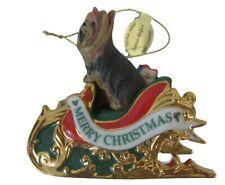 Danbury Mint Christmas Ornament Yorkie Sleigh Santa's Helper 2005 Dog 1st annual