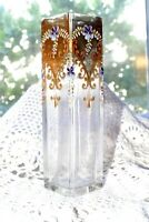 Antique Moser Signed Carlsbad Moser clear glass raised enamelled vase c1900s