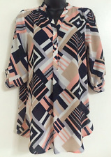 NEW Ex DP Abstract Print Black Beige Peach Chiffon Shirt Blouse Top Size 8-20
