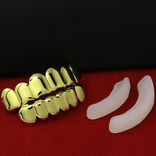 New Custom Fit 18k Gold Plated Hip Hop Teeth Grillz Caps Top & Bottom Grill Set