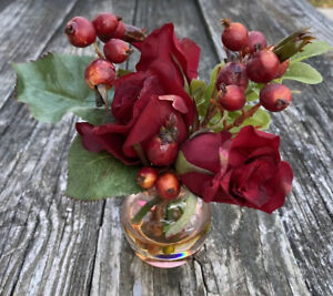 """Sm Silk Flower Arrangement Faux Water Pink Glass Vase High Quality Red Roses 6"""""""