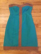 Britt Ryan Anthropologie Teal & Brown Textured Dress W/ Pockets, Size 2