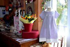 robe cyrillus 6 mois col clodine blanc parme clair 30% de lin tres jolie