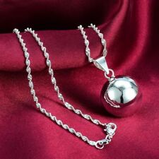 "Women Fashion Jewelry 925 Sterling Silver Plated 16MM  Ball Pendant 18"" Necklace"