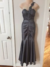XSCAPE BY JOANNA CHEN Pewter Gray Ruched One Shoulder Mermaid Gown Dress 8