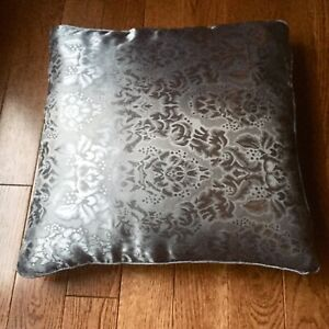 """2 Throw Pillow Covers 18"""" Damask Floral Cushion Cases, Black Brown Gold or Gray"""