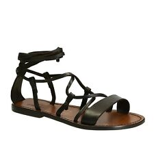 Italian Women's laced-up strappy gladiator sandals shoes handmade brown leather