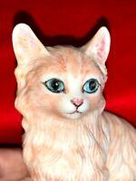 Vintage Porcelain ORANGE TABBY Cat Kitten BLUE Eyes GORGEOUS FIGURINE ❤️sj7m