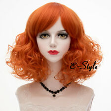 Lolita 40cm Orange Braun Wellen Kurz Damen Harajuku Cosplay Perücke Halloween