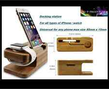 Bamboo docking station / Phone cradle / Iphone / Iwatch / Universal / Uk shop