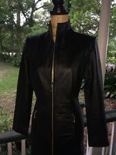 Black Leather Full Zip Long Sleeve Skin Tight Dress Vtg 80s Sz 10
