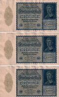 Group Lot of 3 Consecutive UNC Vintage German Banknotes Pick 72 10000 Mark