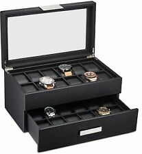 Large 24 Slot Watch Box for Men - Carbon Fiber Design Display Case Holder -Black