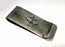 Men's Fleur De Li  Money Clip Withe Natural White Diamonds By Sacred Angels