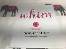 NEW Martha Stewart WHIM 100% Cotton ELEPHANT TRUNK SHOW Twin 3PC Sheet Set