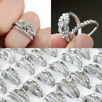 Wholesale 10pcs/Lots Mixed Silver Plated Crystal Rhinestone Rings Jewelry Gift
