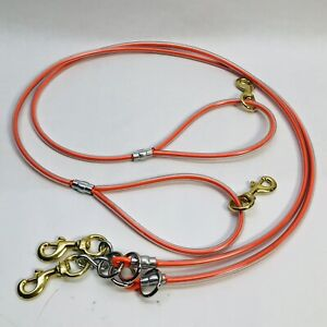 LOT OF 2 ORANGE CABLE LEAD LEASH SUPPLIES WORKING DOG 5' HEAVY DUTY CABLE