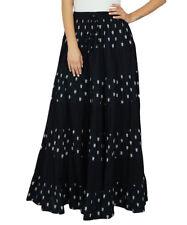 Bimba Womens Long Flaired Cotton Skirt Printed Boho Style Maxi Elastic Waist
