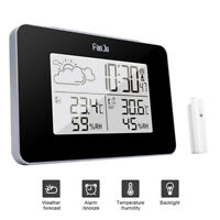 Wireless Weather Station Digital Clock Humidity Outdoor Thermometer Sensor JCASE
