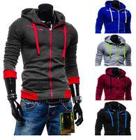 Mens Stylish Hoodies Slim Fit Sweater Casual Zip Hooded Fleece Jacket Coat ez