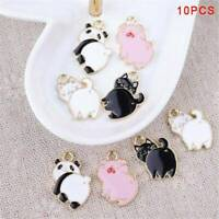 10PCS Cute Enamel Alloy Pig Cat Panda Charms Pendants DIY Jewelry Findings Craft