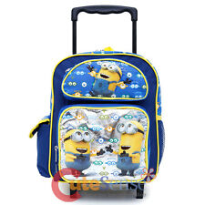 """Despicable Me Minions School Roller Backpack 12"""" Small Wheeled Rolling Bag -Eyes"""